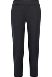 The Row Blake Stretch Cotton Slim Leg Pants Navy