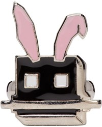 Mcq By Alexander Mcqueen Silver And Black Electro Bunny Ring