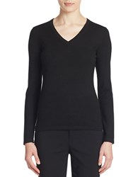 Lord And Taylor Plus Merino Wool Basic V Neck Sweater Black