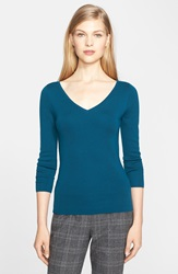 Michael Kors 'Super' V Neck Cashmere Sweater Peacock