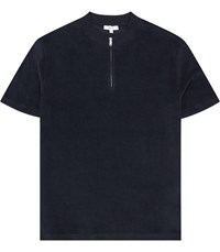 Reiss Dinnington Zip Neck Short Sleeved Top In Navy