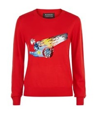 Markus Lupfer Sequin Cannonball Grace Sweater Red