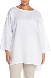 Plus Size Women's Eileen Fisher Organic Linen Ballet Neck Tunic White