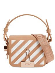 Off White Printed Stripe Baby Leather Shoulder Bag Nude