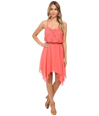 Gabriella Rocha Lace Chiffon Belted Hanky Hem Dress Coral Women's Dress