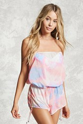 Forever 21 Tie Dye Cover Up Romper Peach Multi