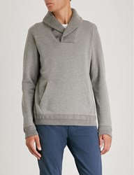 Ralph Lauren Purple Label Shawl Collar Cotton Jersey Sweatshirt Light Grey Melange