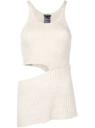 Ann Demeulemeester Cut Out Ribbed Knit Top Neutrals