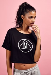Missguided Slouch Fit Motif Crop T Shirt Black Black