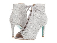 Blue By Betsey Johnson Alexi Silver Satin Lace Up Boots