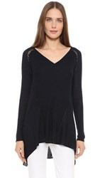 Tess Giberson Lacing Stitch Side Drape Sweater Navy