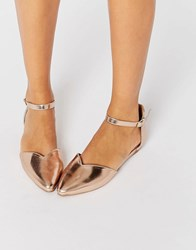 Head Over Heels By Dune Hyrah Rose Gold Flat Shoes Rose Gold