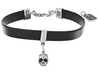 King Baby Studio Leather Choker W Hamlet Skull Black Silver Necklace
