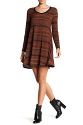 Lush Ribbed Sweater Swing Dress Red