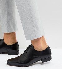 Asos Wide Fit Oxford Shoes In Black Leather With Toe Cap