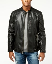 X Ray Men's Quilted Faux Leather Moto Jacket Black
