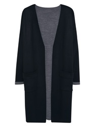 Violeta By Mango Contrast Long Cardigan Black