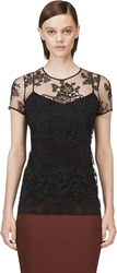 Burberry Black Tulle Floral Embroidered Top