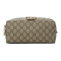 Gucci Beige And Brown Medium Gg Ophidia Cosmetic Case