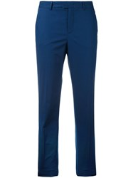 Red Valentino Cropped Trousers Women Cotton Polyester Spandex Elastane Acetate 44 Blue