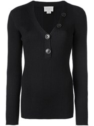 Jason Wu Long Sleeve Fitted Sweater Black