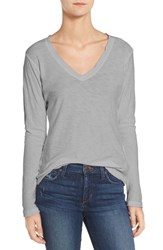 James Perse Women's Slub Cotton V Neck Long Sleeve Tee Heather Grey