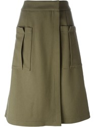 Odeeh Patch Pocket A Line Skirt Green