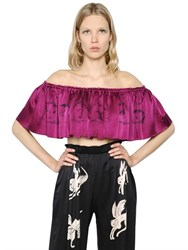 Claire Barrow Cropped And Ruffled Printed Satin Top