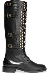 Rene Caovilla Embellished Leather Boots Black