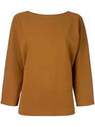 Alberto Biani Flared Longsleeved Blouse Brown