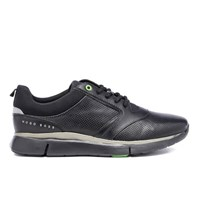 Hugo Boss Green Men's Gym Leather Running Trainers Black