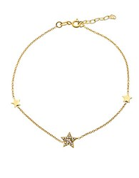 Lord And Taylor Cubic Zirconia 18K Gold Plated Sterling Silver Star Charm Anklet