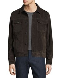 Salvatore Ferragamo Suede Trucker Jacket Brown