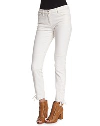 Belstaff Mid Rise Lace Up Ankle Jeans Off White Women's