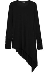 Splendid Luxe Asymmetric Stretch Micro Modal And Cashmere Blend Top Black