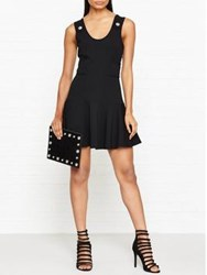 Versus By Versace Lion Stud Fit And Flare Dress Black