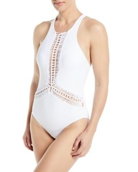 Red Carter Splice And Dice High Neck Macrame Maillot One Piece Swimsuit White