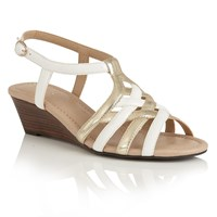 Lotus Ambra Wedge Sandals White