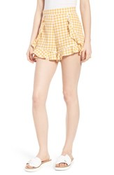 The Fifth Label Idyllic Gingham Ruffle Shorts Buttercup