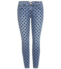 Current Elliott The Stiletto Polka Dot Cropped Skinny Jeans Blue
