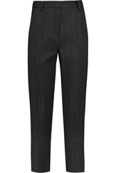 Donna Karan Cropped Striped Wool Blend Straight Leg Pants Gray