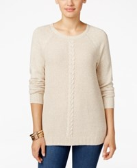 Karen Scott Cable Knit Crew Neck Sweater Only At Macy's New Khaki Marl