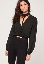 Missguided Choker Neck Wrap Crop Blouse Black Black