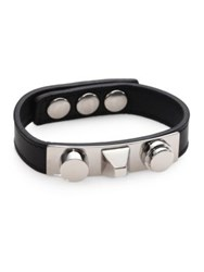 Saint Laurent Classic 3 Clous Studded Leather Bracelet Silvertone