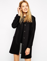 Gloverall Longlined Wook Mix Coat Navy