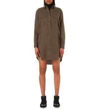 The Kooples Slouchy Twill Shirt Dress Khaki