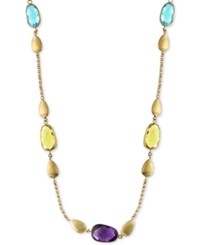 Effy Multi Gemstone And Teardrop Statement Necklace 13 1 2 Ct. T.W. In 14K Gold Yellow Gold