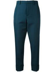 Marni High Waisted Cropped Trousers Women Polyester 44 Green