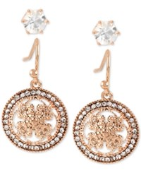 Hint Of Gold Rose Plated 2 Pc. Set Stud And Filigree Drop Earrings Rose Gold