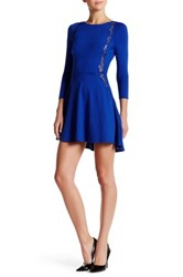 David Lerner Fit And Flare Lace Trim Dress Blue